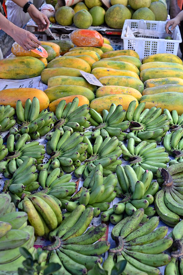 bananas and papayas