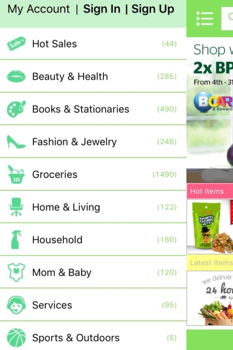 List of Jocom Shopping Categories