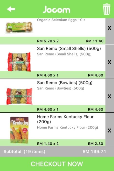 screen capture organic eggs, san remo pasta and kentucky flour