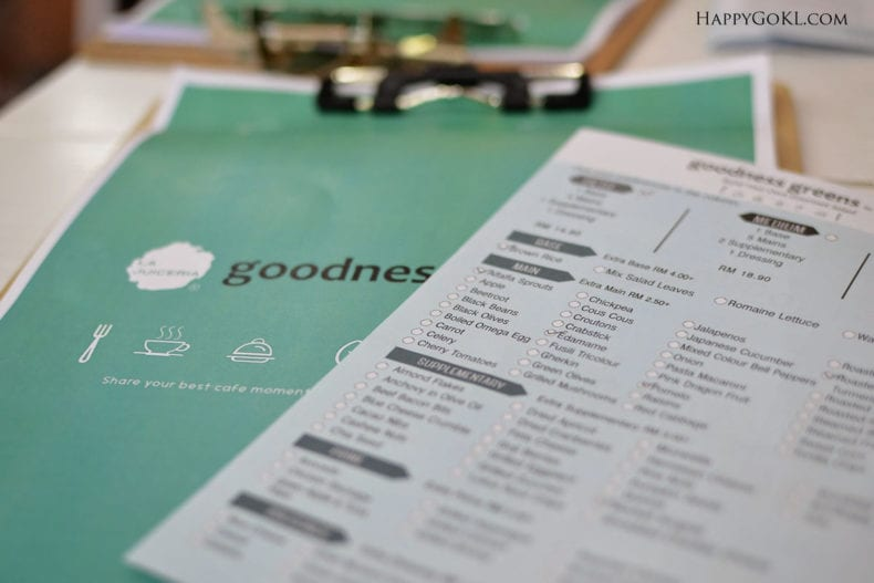 goodness greens menu tick a box